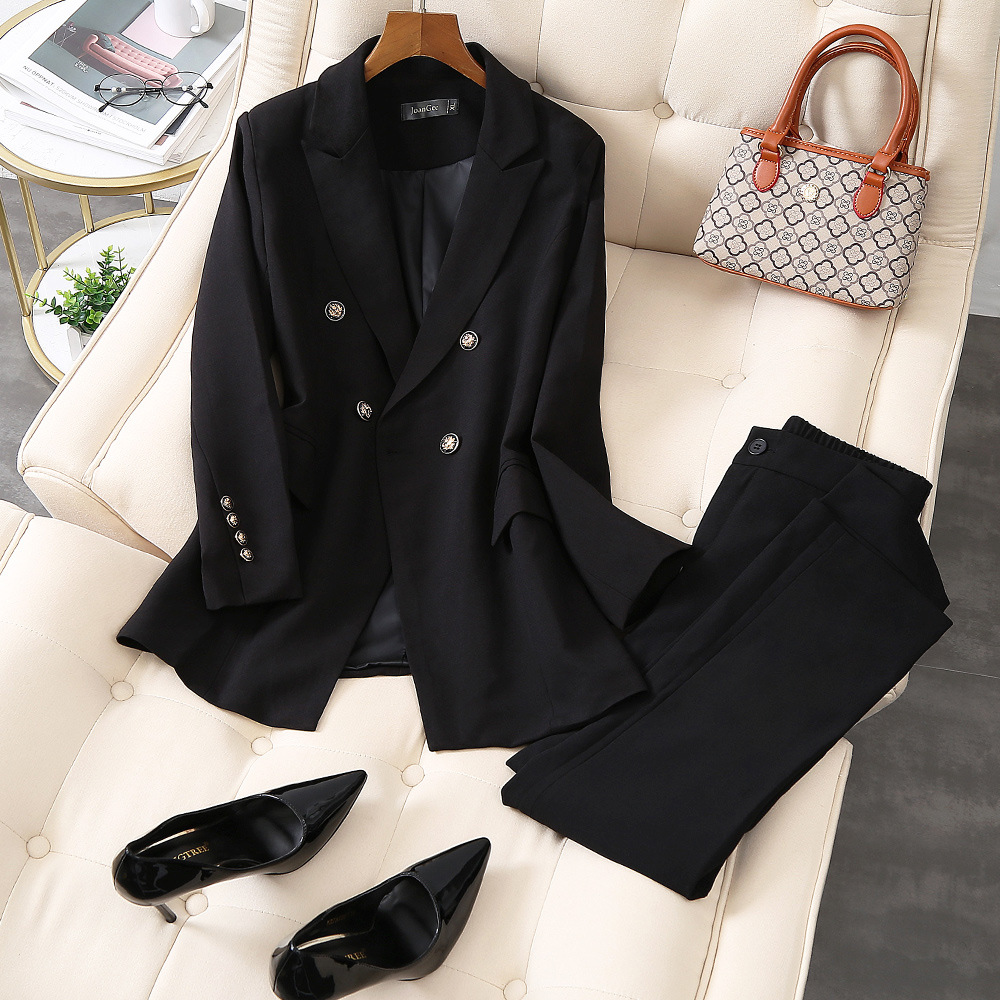Autumn Women's Office Lady 2 Pieces Black Elegant Double Breasted Turn-down Collar Blazers Trouesrs Plus Size 5XL New Pant Suits
