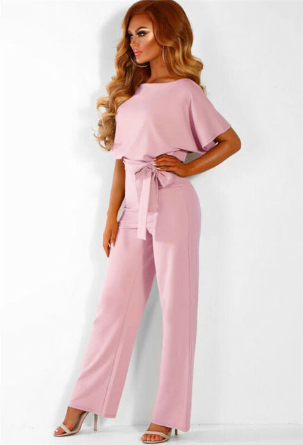 Hirigin 2020 Fashion Women O Neck Short Batwing Sleeve Belted Jumpsuit Summer Playsuit Office Work Wear Elegant Trousers 6