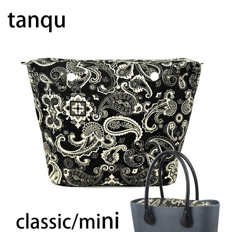 Tanqu 2018 новый классический мини карман на молнии для большого мини Obag водонепроницаемый цветочный холст внутренний карман внутренняя подкла...