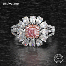 цена Shipei Gemstone Flower Ring for Women Genuine 100% 925 Sterling Silver Sapphire Emerald Engagement Wedding Ring Fine Jewelry онлайн в 2017 году