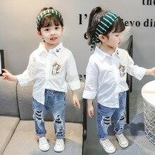 Осенняя одежда для девочек г. Новая стильная рубашка для девочек в западном стиле 5 универсальных детских рубашек с вышивкой От 1 до 3 лет малышей