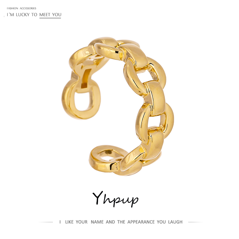 Yhpup Fashion Stainless Steel Chain Opening Ring for Women Minimalist Engagement Finger Gold Ring Metal Jewelry Gift 2021