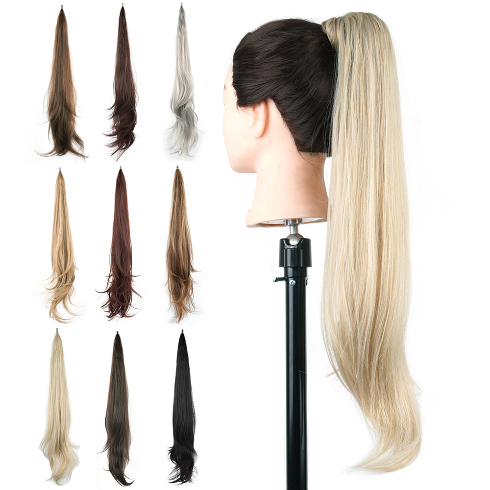 Soowee Long Layered Ponytail Synthetic Hair Extension Dirty Blonde Pony Tail Flexible Wrap Hair Ponytails Hairpieces