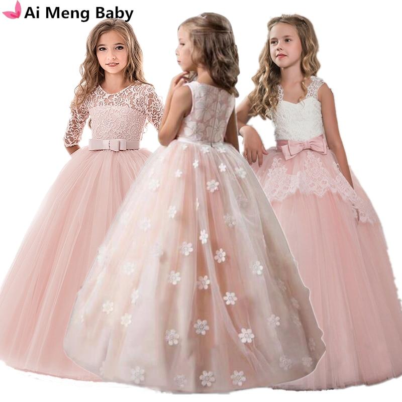 Vintage Flower Girls Dress for Wedding Evening Children Princess Party Pageant Long Gown Kids Dresses for Innrech Market.com