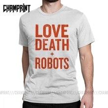 Amor muerte Robots Vintage Camiseta Hombre puro algodón divertido Camiseta cuello redondo Camiseta manga corta ropa regalo Idea de talla grande