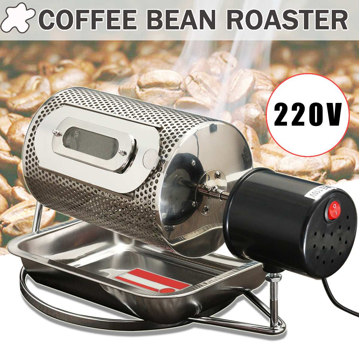 220V Electric Coffee Roaster Home Coffee Beans Machine Roasting Baking Tools  Machine Household Grain Drying Nut Roasters