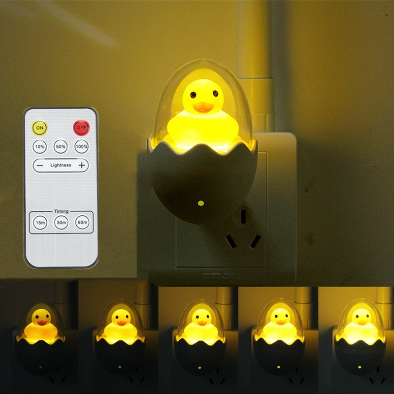 Yellow Duck Egg LED Night Light Sensor Control 110V/220V Dimmale Remote Control Wall Lamp For Home Bedroom Baby Light EU/US Plug