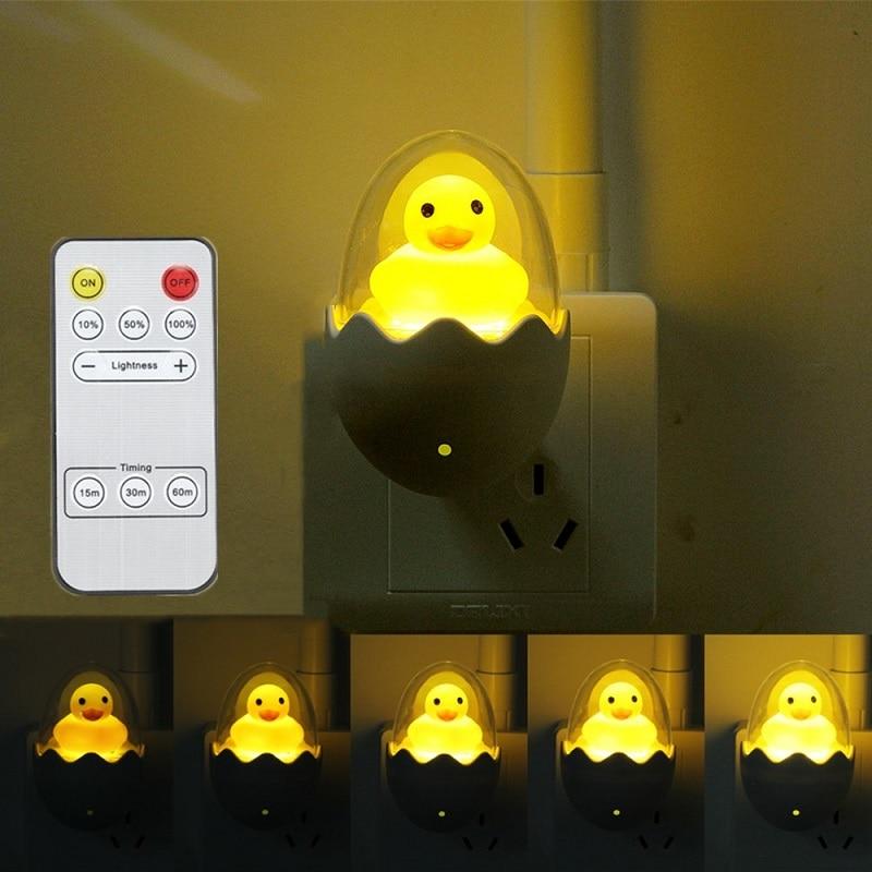 Yellow Duck Egg LED Night Light Sensor Control 110V/220V Dimmale Remote Control Wall Lamp For Home Bedroom Baby Light EU/US Plug