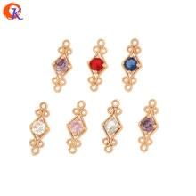 Design cordial 100 pces 6*16mm jóias acessórios/feitos à mão/cristal encantos/forma de losango/cz conector/brinco descobertas/diy fazendo