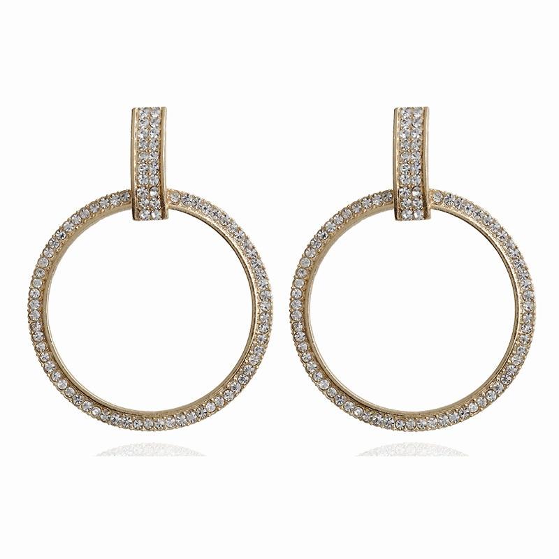 Charm earrings shiny crystal circle earrings personality personality wild temperament fashion new women earrings wholesale|Stud Earrings|   - AliExpress