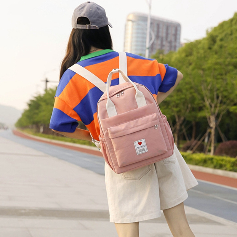 FGGS-Female Soft Bag Harajuku Backpack Small Fresh Solid Color Fashion College Style Student Backpack Outdoor Bag Backpack