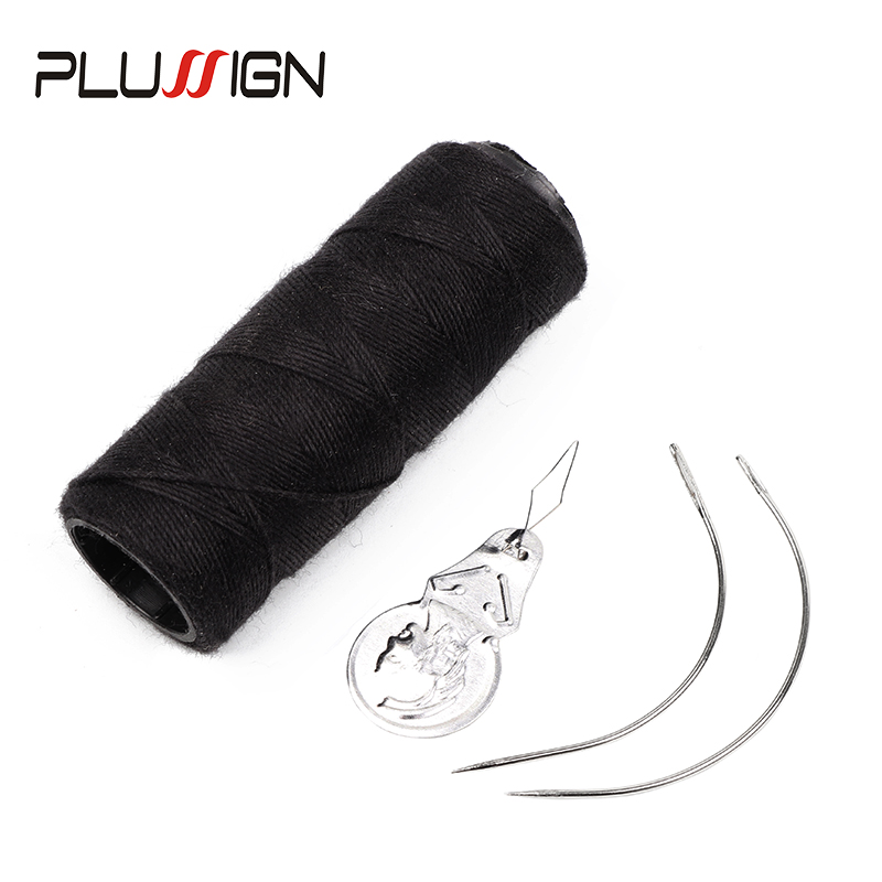 Plussign Top 2Pcs Curved Needles 1 Roll  50 Meters Sewing Thread For Hair Extension Weave Needle And Thread For Making Wigs