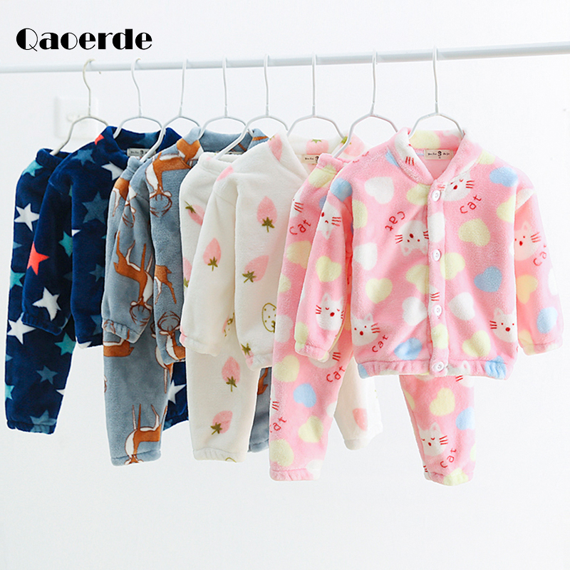 <font><b>Children's</b></font> pyjamas <font><b>Winter</b></font> Kids <font><b>Clothes</b></font> Flannel Sleepwear Boys Pajamas Sets Pajamas <font><b>For</b></font> Girls <font><b>Children's</b></font> clothing 2 to <font><b>8</b></font> <font><b>years</b></font> image