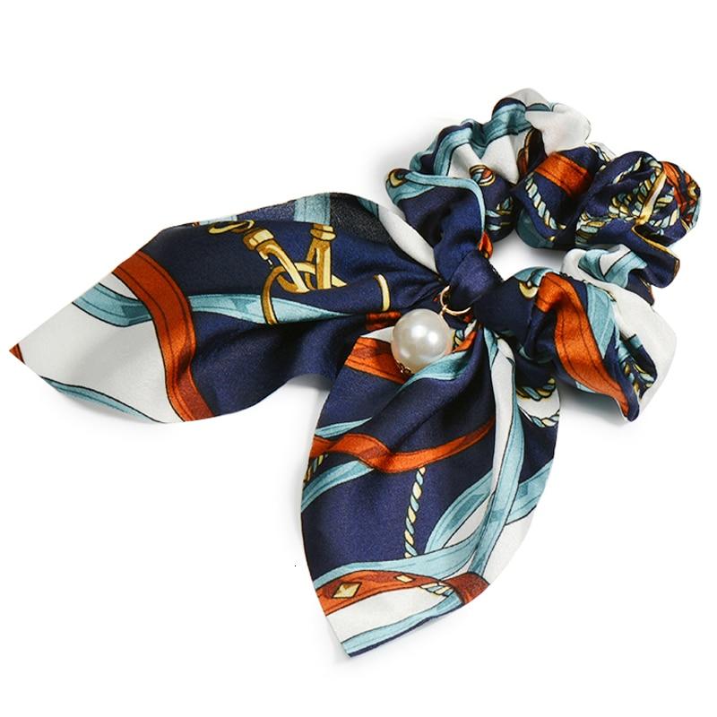 Mousseline de soie Cheveux Chouchous Femmes Mode Perle élastique pour queue de cheval Cheveux Cravate Cheveux Corde Élastiques Cheveux Accessoires couvre-chef en noeud 24