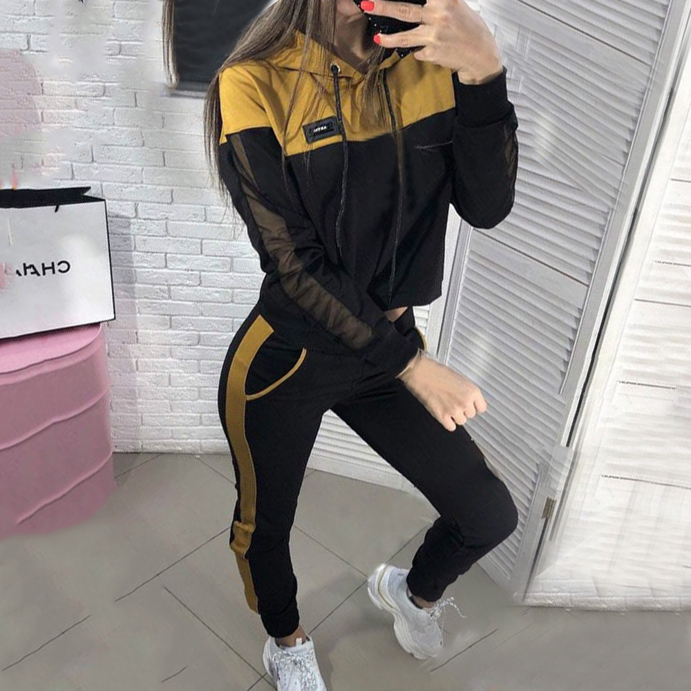 MoneRffi  Two Piece Set Women Tracksuits Autumn Women Solid Color Hooded Sweatshirt And Pant Tracksuit Sport Suit Two Piece Set