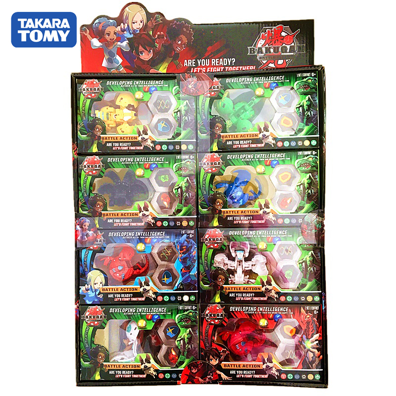 TOMY BAKUGAN 8PCS/LOT Battle Brawlers Bayblade Burst Toupie Metal Fusion Met Monster Ball Gyro Atletiek Speelgoed Christmas Gift