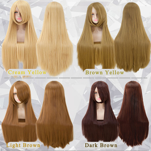 Image 5 - Pageup 100 センチメートルロングストレートかつら前髪耐熱人工毛女性のための赤茶色ブロンドウィッグ
