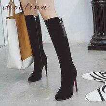 Meotina Winter Knee High Boots Women Boots Fringe Stiletto Heels Long Boots Zip Super High Heel Shoes Lady Autumn Big Size 33-43 недорого