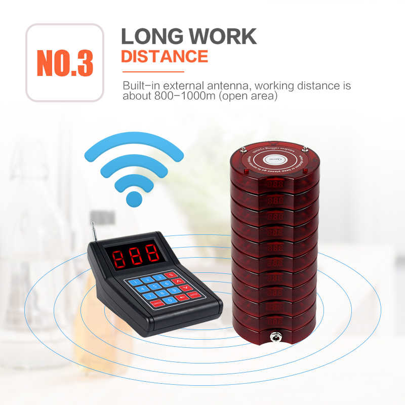 RETEKESS SU-668 Pager Restaurant wireless Calling System waiter pagers call customer For restaurant church Pet Hospital