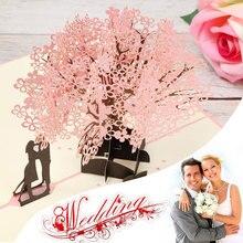 3D Handmade Cherry Blossom Pop Up Cards Multi-Styles Laser Cut Custom With Envelope Happy Birthday Wedding Vintage Invitations