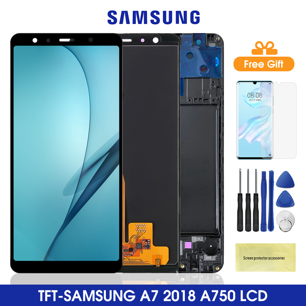 A750 Lcd For <font><b>Samsung</b></font> <font><b>Galaxy</b></font> <font><b>A7</b></font> <font><b>2018</b></font> Lcd <font><b>Display</b></font> Touch Screen Digitizer Replacement Parts For <font><b>Samsung</b></font> A750 A750F Lcds image