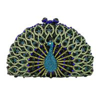 Women Glitter Peacock Evening Party Prom Wedding Clutch Handbag Shoulder Chain Bag 517D
