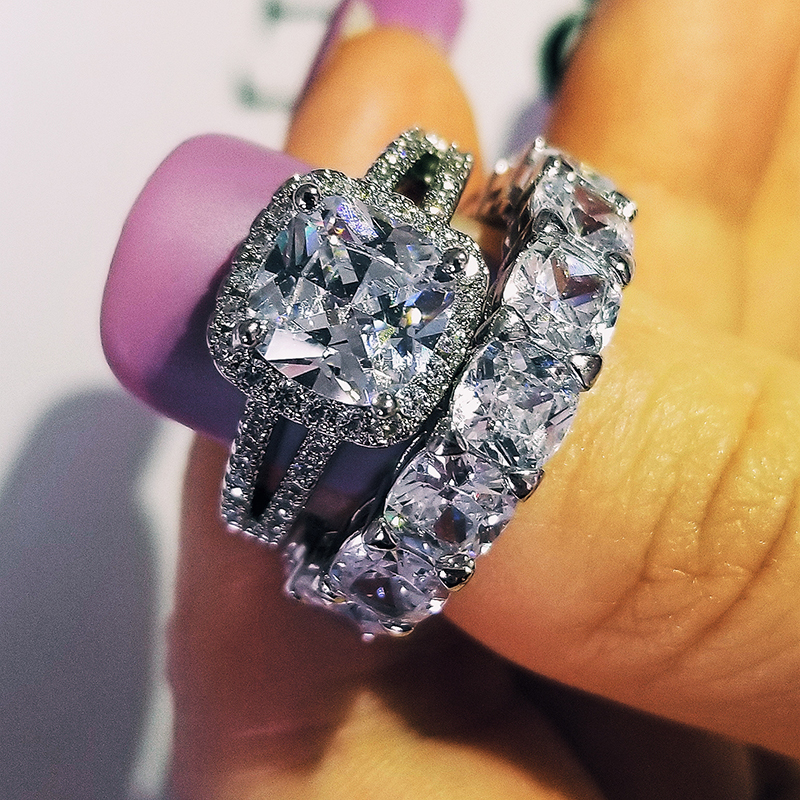 Cushion Cut CZ 925 Sterling Silver Wedding Ring Set For Women Bride Engagement Fashion Jewelry Bands Eternity Gift Moonso R5693