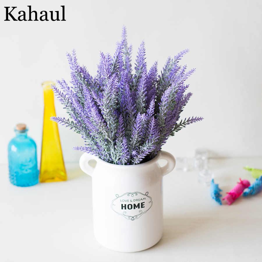 Lavande plastique fleurs artificielles romantique Provence violet Bouquet avec feuilles vertes mariage maison Table décoration fausse fleur