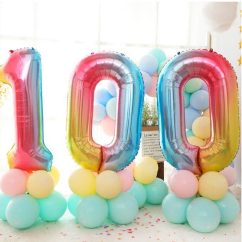 40 Inch Gradual Digital Aluminum Foil Balloon Thin Version Fruit Green Big Digital BALLOON Birthday Decoration 029