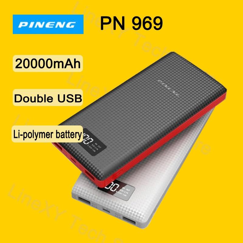 Ship from Russia Power bank PINENG PN969 20000mAh Dual USB Output LED display Li polymer battery