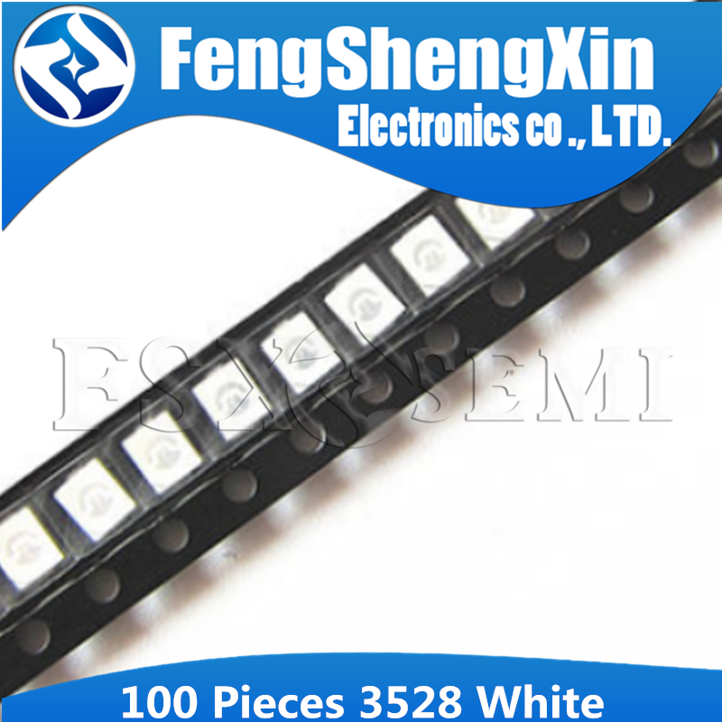 100pcs White 3528 1210 SMD LED Diodes Light