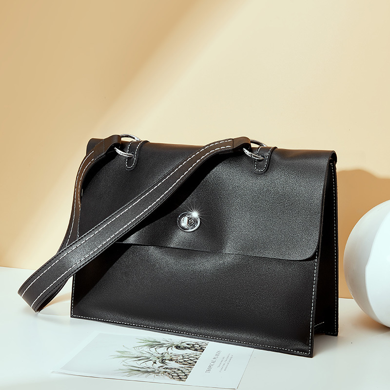 Women Office Briefcase Cow Bag Leather Simple OL Commuter Briefcases Woman Shoulder Messenger Bags Work Bolsos Mujer Sac A Main