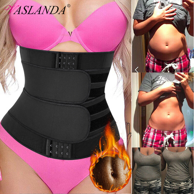 Neoprene Sauna Sweat Waist Trainer Corset with Steel Bones Women Weight Loss Trimmer Belt Slimming Body Shaper Fat Burning Fajas