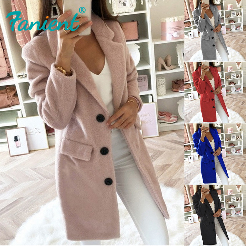 Women Wool Coat Winter Long Ladies Jackets Coat Plus Size 5XL Casual Solid Pink Blend Coat Female Outerwear Jacket