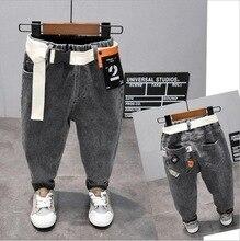 Модные джинсы для мальчиков на весну и осень, джинсовые брюки для детей от 2 до 7 лет детские штаны черного и серого цвета (A120027