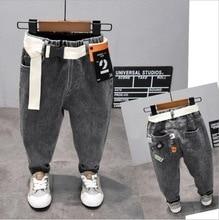 אופנה ג ינס בני אביב & סתיו 2 7Years ילדים של ג ינס מכנסיים ילדים שחור אפור עוצב מכנסיים (A120027