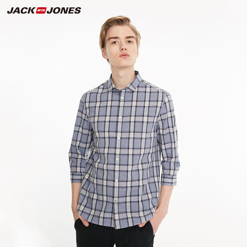 JackJones Men's 100% Cotton Business Plaid 3/4 Sleeves Shirt Menswear| 219131512