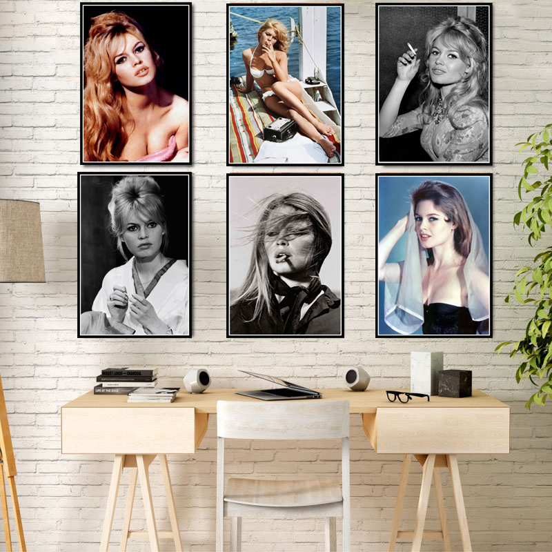 Poster Prints Brigitte Bardot Movie Star Actress Model Black White Art Canvas Oil Painting Wall Pictures Living Room Home Decor image