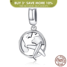 BAMOER Authentic 925 Sterling Silver Traveling Dream Map & Plane Charm Beads Fit Charm Bracelets Fashion Jewelry S925 SCC242