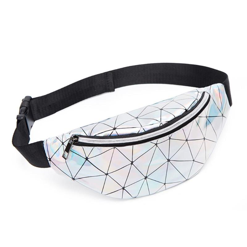 Fashion Female Casual Small Geometric Holographic Waist Bags Women Fanny Belt Packs Girls Patent Leather Chest Phone Pouch