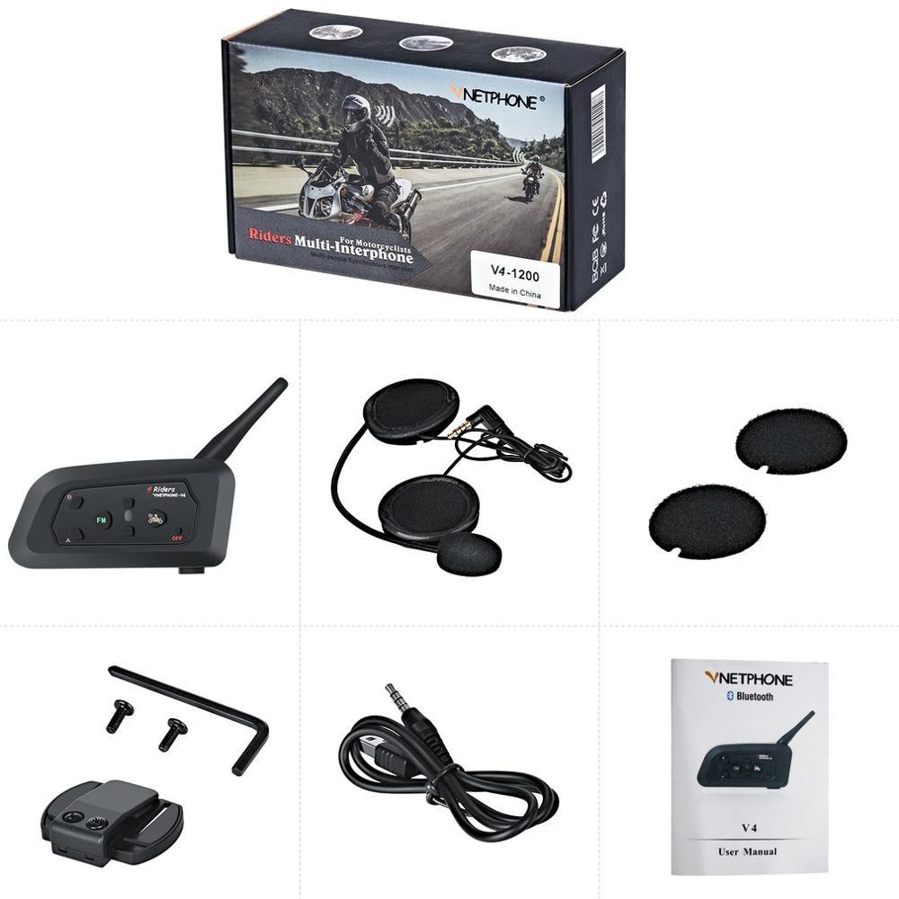 1 Motorcycle Walkie-talkie V4 Full-duplex Real-time Call Helmet Walkie-talkie Headset 1200M Wireless Motorbike Intercom Connect