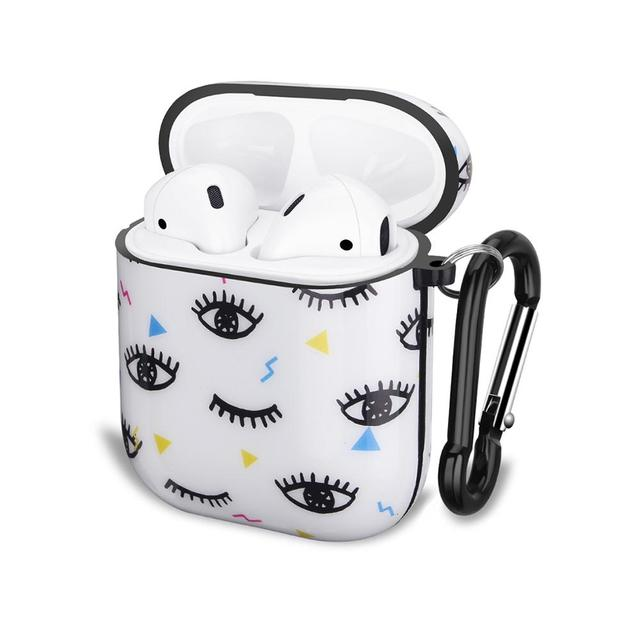 Cute Eyes Design For Apple AirPods Case, IMD Soft TPU Case Cover for AirPods 1&2 Convenient charging with Keychain