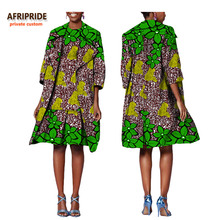 african 2-pieces suit for women AFRIPRIDE half sleeve knee-length coat+sleeveless knee-length A-Line dress office suit A722650 2019 summer african dress women wear v neck half sleeve cartoon letter printed slim loose stylish classic knee length t shirt