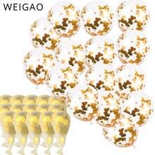 Weigao ouro confetes balões 12 Polegada látex festa balões com confetes dourados pontos para a festa de noivado do casamento decoração