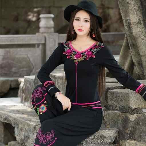 Camisones femininas mujeres pullover mujer vintage 70s étnico México estilo manga larga cuello en v negro bordado camiseta AF498