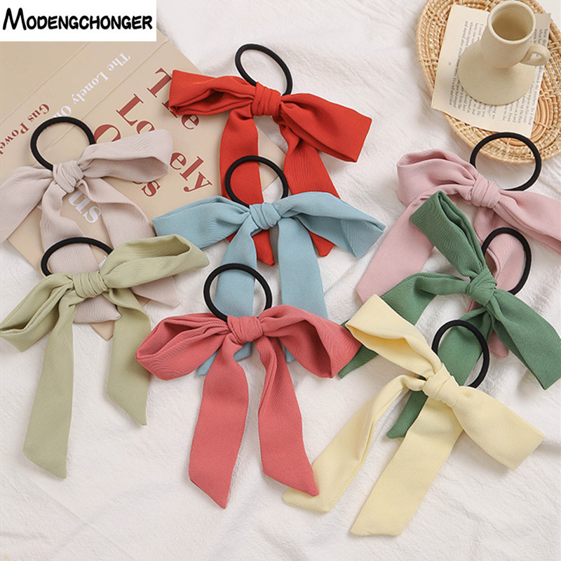 1PC New Fashion Barrette Bow Elastic Rubber Band Solid Colore Pattern Long Ribbon Hairband Woman Girl Hair Ring Hair Accessories