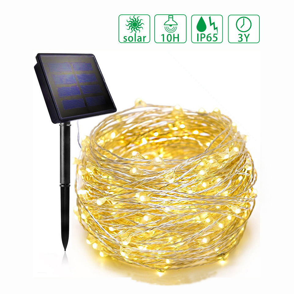 12m/22m Led String Light Outdoor Copper Wire Solar Lamp Decoration Christmas Garland String Lighting For Holiday Wedding Garden