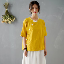 Блузка женская в китайском стиле однотонная элегантная льняная