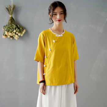 Chinese style Blouse Women 2020 New Summer Blouse Solid Yellow Red White Blouse Vintage Elegant Linen Shirt Blouse Tops Femme