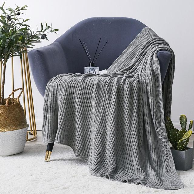 Claroom 100% Cotton Chunky Knit Blanket Solid Skin-Friendly Soft Blanket Office Nap Sofa Cover Blanket Throw Blanket WX19#